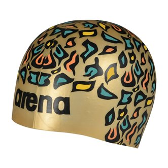 Bonnet de bain ARENA Poolish MOULDED ANIMALIER GOLD
