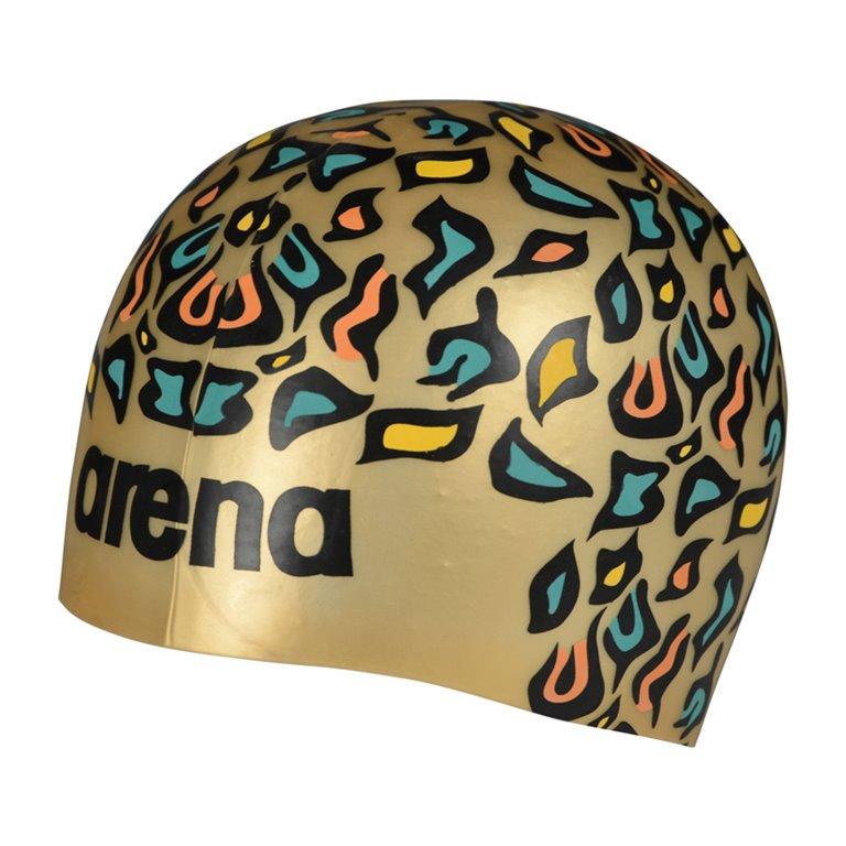 Bonnet de bain ARENA Poolish MOULDED ANIMALIER GOLD