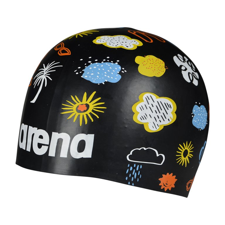 Bonnet de bain ARENA Poolish MOULDED TROPICAL STORM BLACK