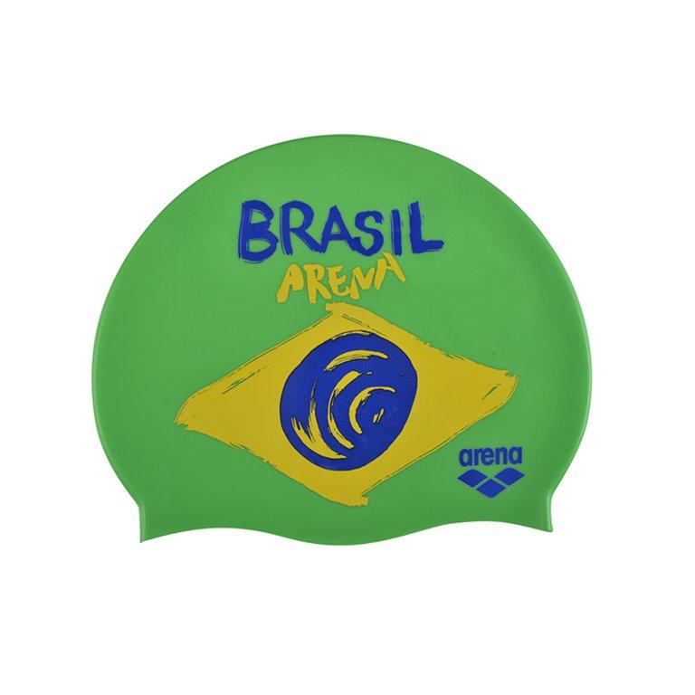 Bonnet de bain ARENA FLAGS SILICONE CAP Brésil